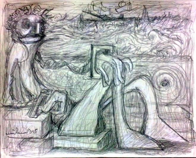 """Il """"mio"""" mare è tutto in questi tratti, in questo disegno stupendo di Luciano Tomei, che ringrazio per avermi consentito di pubblicarlo in questa sede."""